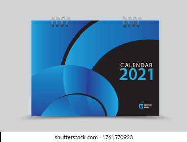 Cover desk calendar 2021 year template vector illustration, corporate design, Business flyer, brochure cover, blue abstract background, Annual report, creative idea