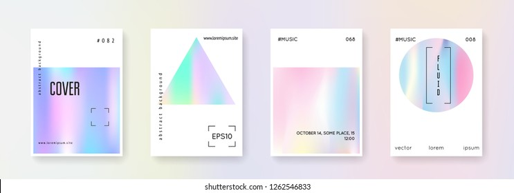 Cover fluid set. Abstract backgrounds. Bright cover fluid with gradient mesh. 90s, 80s retro style. Pearlescent graphic template for placard, presentation, banner, brochure.