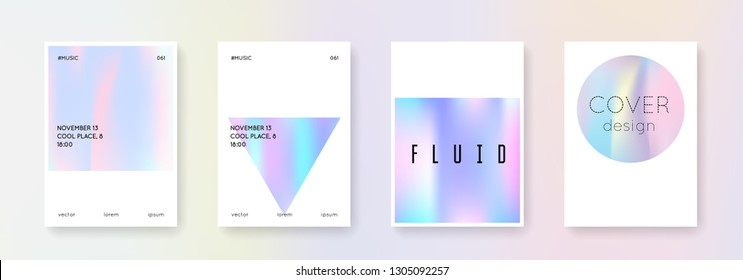 Cover fluid set. Abstract backgrounds. Liquid cover fluid with gradient mesh. 90s, 80s retro style. Iridescent graphic template for placard, presentation, banner, brochure.