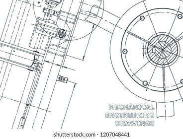 Cover, flyer, banner. Vector engineering illustration. Blueprint
