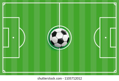 Cover with football ground and classic football. Eps 10 vector file.