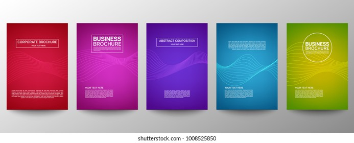 Cover geometric minimal. Set. Vector abstract line pattern for poster design. Set of templates for business brochures. Cool halftone gradients. Graphic pattern for annual album backdrop.