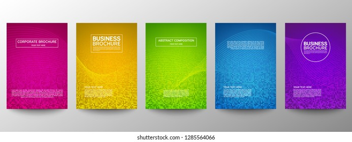 Cover geometric minimal. Set. Vector abstract dots pattern for poster design. Set of templates for business brochures. Cool halftone gradients. Graphic pattern for annual album backdrop.