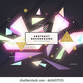 Cover hipster template with abstract vintage shapes, 80s memphis geometric style flat and 3d design elements. Retro art for banners, flyers, placards and posters. Eps10 vector illustration.