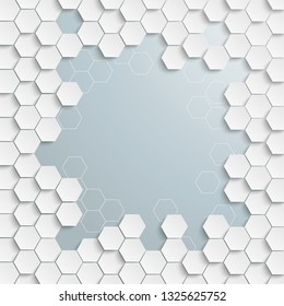 Cover with honeycomb structure with a grey centre. Eps 10 vector file.