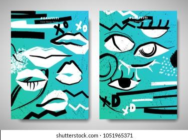 Cover/ invitation card template design, abstract hand drawn lips/ eyes and art elements, black and white on blue background