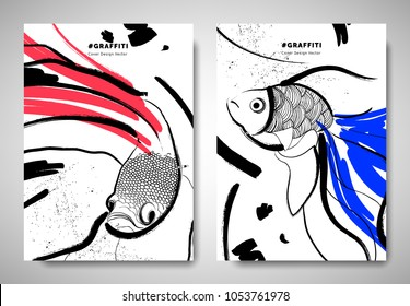 Cover/ invitation card template design, abstract hand drawn brush painting fighting fish, goldfish and art elements, black, red and blue tones