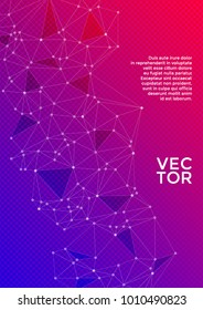 Cover layout design. Global network connection digital grid. Interlinked nodes, molecular, social media, web or  big data cloud structure concept. Network nodes information technology concept.