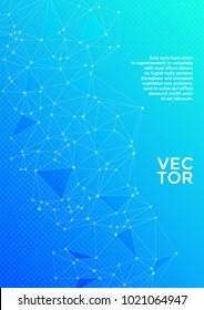 Cover layout design. Global network connection polygonal grid. Interlinked nodes, atom, social media, web or  big data cloud structure concept. Network nodes information technology concept in blue.