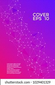 Cover layout  pink blue design. Global network connection triangles grid. Interlinked nodes, atom, social media, web or  big data cloud structure concept. Network nodes information technology concept.