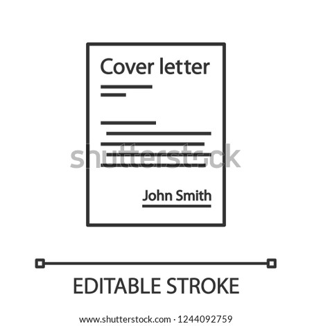 Cover Letter Linear Icon Job Application Stock Vector Royalty Free