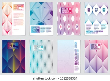 Cover with minimal designs. Web, commerce or events vector graphic design templates set. Vector geometric patterns used in modern designs. Minimalistic brochure designs. A4 print format.