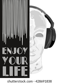 Cover for music concept. An abstract vector for man listening music with headphones. Artistic hand drawn design. Vector