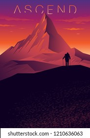 Cover on the theme of climbing, hiking, traveling, trekking, walking. Mountain landscape with the silhouette of a climber