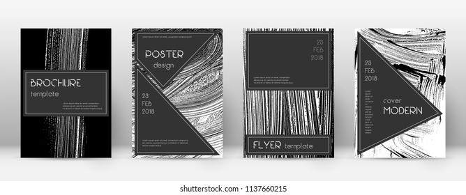 Cover page design template. Black brochure layout. Beauteous trendy abstract cover page. Black and white grunge texture background. Imaginative poster.
