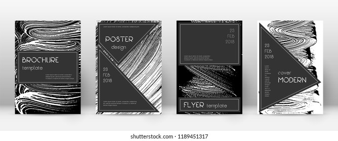 Cover page design template. Black brochure layout. Beauteous trendy abstract cover page. Black and white grunge texture background. Flawless poster.