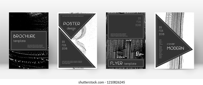 Cover page design template. Black brochure layout. Beauteous trendy abstract cover page. Black and white grunge texture background. Grand poster.