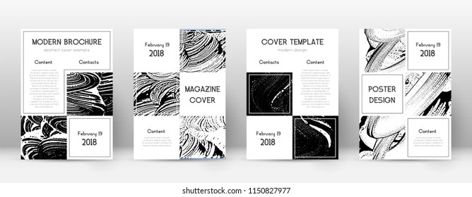 Cover page design template. Business brochure layout. Beautiful trendy abstract cover page. Black and white grunge texture background. Favorable poster.