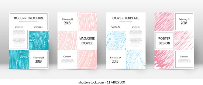 Cover page design template. Business brochure layout. Bizarre trendy abstract cover page. Pink and blue grunge texture background. Cool poster.