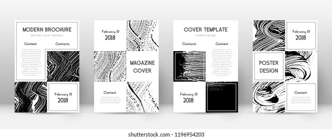 Cover page design template. Business brochure layout. Beautiful trendy abstract cover page. Black and white grunge texture background. Flawless poster.