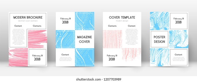 Cover page design template. Business brochure layout. Bizarre trendy abstract cover page. Pink and blue grunge texture background. Beautiful poster.