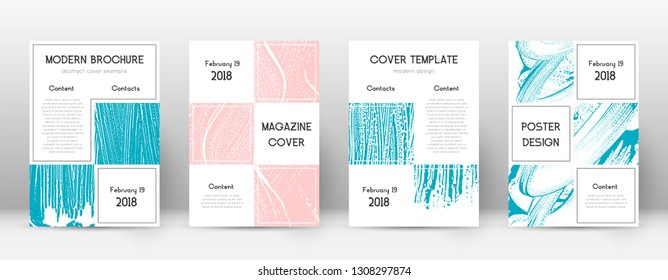 Cover page design template. Business brochure layout. Bizarre trendy abstract cover page. Pink and blue grunge texture background. Astonishing poster.