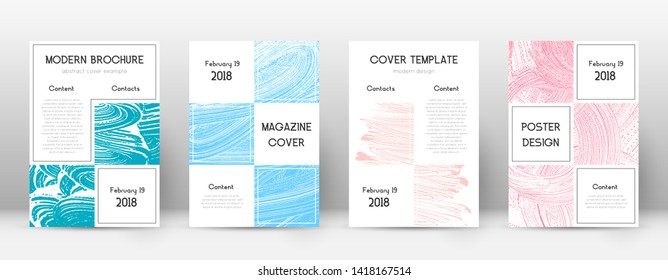 Cover page design template. Business brochure layout. Beautiful trendy abstract cover page. Pink and blue grunge texture background. Uncommon poster.