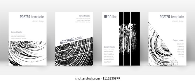 Cover page design template. Geometric brochure layout. Bizarre trendy abstract cover page. Black and white grunge texture background. Fair poster.