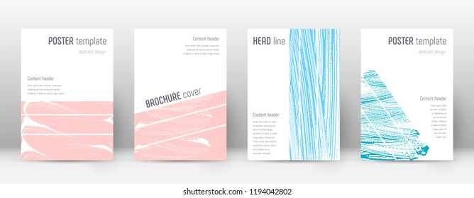 Cover page design template. Geometric brochure layout. Bold trendy abstract cover page. Pink and blue grunge texture background. Uncommon poster.