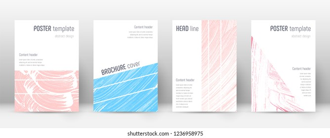 Cover page design template. Geometric brochure layout. Bold trendy abstract cover page. Pink and blue grunge texture background. Favorable poster.