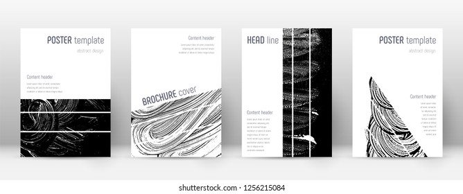 Cover page design template. Geometric brochure layout. Bizarre trendy abstract cover page. Black and white grunge texture background. Lovely poster.