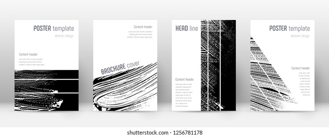 Cover page design template. Geometric brochure layout. Bizarre trendy abstract cover page. Black and white grunge texture background. Pleasing poster.