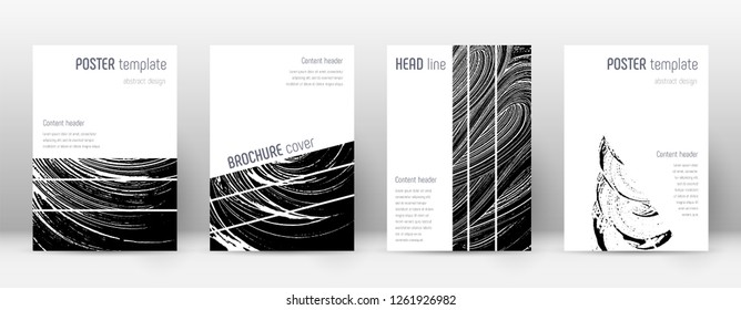 Cover page design template. Geometric brochure layout. Bizarre trendy abstract cover page. Black and white grunge texture background. Graceful poster.