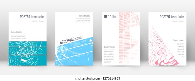 Cover page design template. Geometric brochure layout. Bizarre trendy abstract cover page. Pink and blue grunge texture background. Uncommon poster.