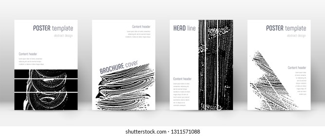 Cover page design template. Geometric brochure layout. Bizarre trendy abstract cover page. Black and white grunge texture background. Memorable poster.
