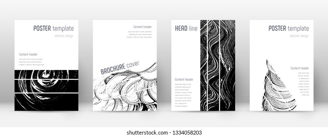 Cover page design template. Geometric brochure layout. Bizarre trendy abstract cover page. Black and white grunge texture background. Splendid poster.