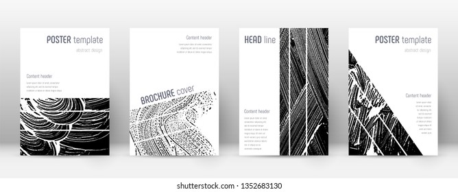 Cover page design template. Geometric brochure layout. Bizarre trendy abstract cover page. Black and white grunge texture background. Impressive poster.