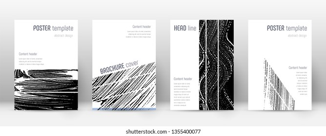 Cover page design template. Geometric brochure layout. Bizarre trendy abstract cover page. Black and white grunge texture background. Fantastic poster.