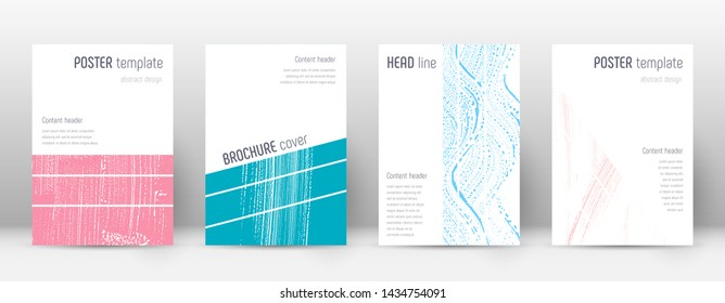 Cover page design template. Geometric brochure layout. Breathtaking trendy abstract cover page. Pink and blue grunge texture background. Ecstatic poster.