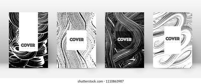 Cover page design template. Hipster brochure layout. Breathtaking trendy abstract cover page. Black and white grunge texture background. Nice poster.