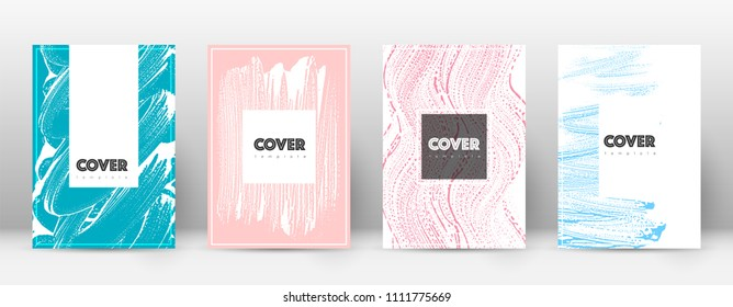 Cover page design template. Hipster brochure layout. Brilliant trendy abstract cover page. Pink and blue grunge texture background. Curious poster.