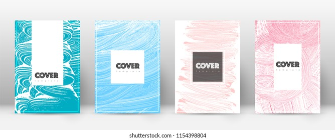Cover page design template. Hipster brochure layout. Breathtaking trendy abstract cover page. Pink and blue grunge texture background. Superb poster.