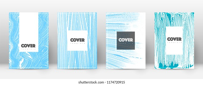 Cover page design template. Hipster brochure layout. Captivating trendy abstract cover page. Pink and blue grunge texture background. Delicate poster.