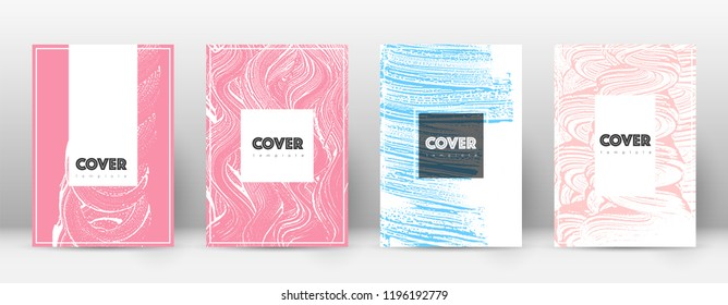 Cover page design template. Hipster brochure layout. Captivating trendy abstract cover page. Pink and blue grunge texture background. Astonishing poster.