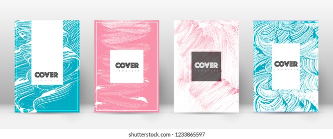 Cover page design template. Hipster brochure layout. Captivating trendy abstract cover page. Pink and blue grunge texture background. Divine poster.