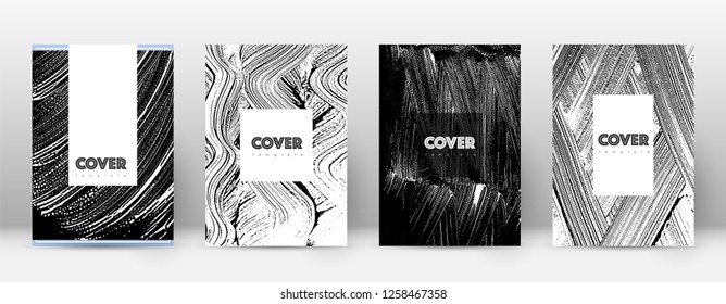 Cover page design template. Hipster brochure layout. Breathtaking trendy abstract cover page. Black and white grunge texture background. Marvelous poster.