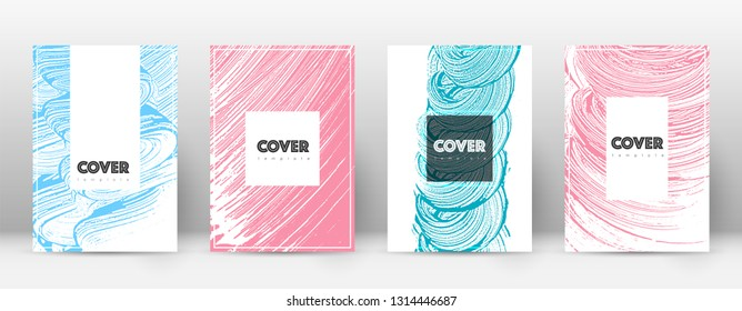 Cover page design template. Hipster brochure layout. Captivating trendy abstract cover page. Pink and blue grunge texture background. Attractive poster.