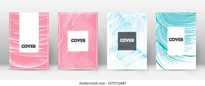 Cover page design template. Hipster brochure layout. Breathtaking trendy abstract cover page. Pink and blue grunge texture background. Uncommon poster.