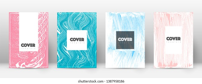 Cover page design template. Hipster brochure layout. Breathtaking trendy abstract cover page. Pink and blue grunge texture background. Valuable poster.