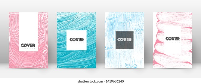 Cover page design template. Hipster brochure layout. Breathtaking trendy abstract cover page. Pink and blue grunge texture background. Wonderful poster.